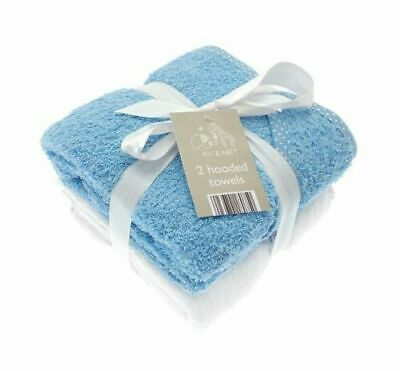 2 Pack Soft Grey & White Elli & Raff Baby Hooded Bath Time Towel 100% Cotton New