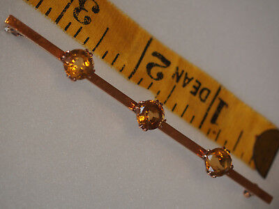 "7gr Antique Victorian 9k Gold Rose 3 Citrine Stones 8mm Brooch Pin 3.5"" Large"
