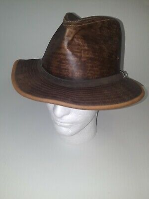 2ee68886c4ba0 VINTAGE LARGE ADVENTURE Bound Leather Fedora Hat Made in the USA ...