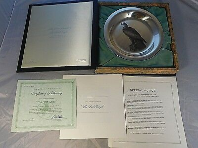 Vintage Franklin Mint Sterling Silver The Bald Eagle Plate #233 Original Box