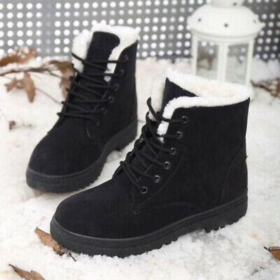 Women Shoes Boots Flat Lace Up Fur Lined Work Snow Thicken Winter Outdoor Hot