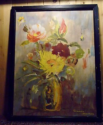 """Simone Mounioz Water Color of Flowers Canadian Artist 22.5"""" x 17.5"""" Framed Glass"""