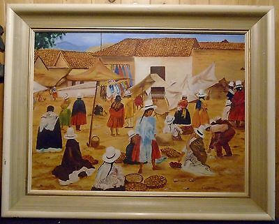 Painting Peruvian Food Market Signed Denise 63 Acrylic on Canvas Framed