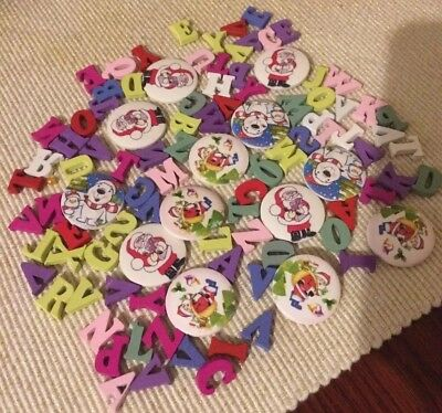 New Never Used 2 hole wooden buttons/letter Crafts!