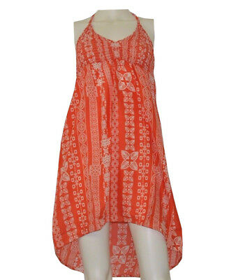 55d81c1aa156c Lagaci Women's Red/Orange Printed Beach Cover Up Summer Dress ...