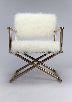 Luxury Accent Faux Fur Rose Gold Copper Frame Directors Arm Chair Contemporary.