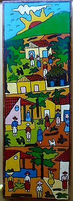 Peruvian Folk Art Oil Mountain Village Painted on Mahogany Board