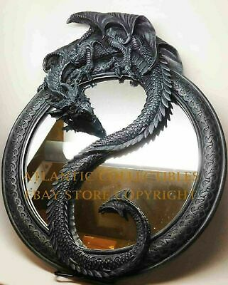 "Medieval Stonelike Dragon Ying and Yang Mirror Wall Figurine Resin Statue 20""h"