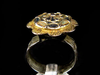 BEAUTIFUL BYZANTINE MASSIVE SILVER GILT RING in TOP DESIGN+++ENAMEL DECORATION++