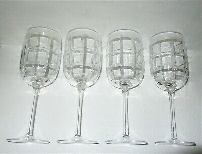 """Ralph Lauren Crystal 4 FOSTER Cut Water/Wine Goblets Glasses 9.25"""" HTF Mint Cond"""