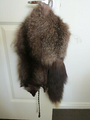 Genuine 1930's Silver Fox Stole - Head - Paws and White Tipped Tail...Unusual!