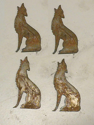 """Lot of 4 Howling Wolf Coyote Shapes 3"""" Rusty Metal Vintage Stencil Ornament"""