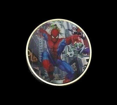 1 Pc Marvel Spiderman Super Hero Avengers Silver Coin 2019 True 3D Gift Uk