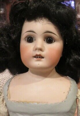 """Antique 20"""" German Bisque Mystery Doll w/Pierced Ears, Perfect Bisque"""