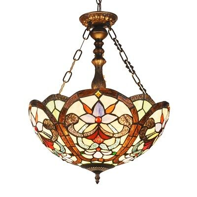 Tiffany Style Inverted Hanging Ceiling Pendant Lamp Stained Glass Fixture Light