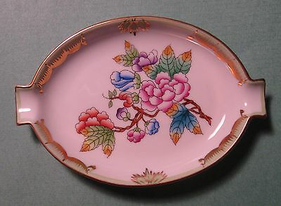 HEREND China VBO QUEEN VICTORIA Green PEONY BUTTERFLY Vintage Porcelain ASHTRAY
