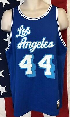 new concept c310c 09c9a HARDWOOD CLASSICS NBA Los Angeles Lakers JERRY WEST Blue Jersey Sewn  Throwback M