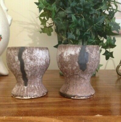 McCarty's Pottery NUTMEG SMALL WINE GLASSES / GOBLETS SET OF 2 NEW ! GIFT BOXED
