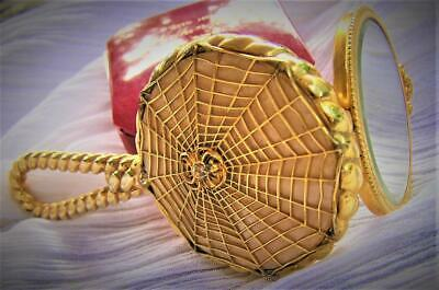 Antique Vintage Beautiful Gold GF French Spider In A Web Powder Compact Pendant