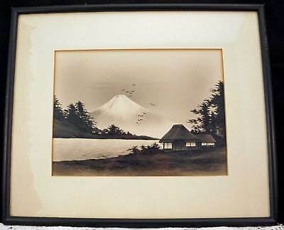 Antique Black & White Painting on Mount Fuji and Landscape Custom Framed