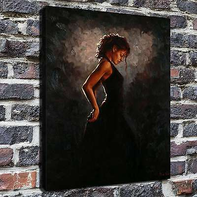 "Black dress woman Painting HD Print on Canvas Home Decor Wall Art Picture 16""x22"