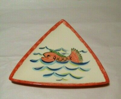 Gail Pittman Pottery RARE WHIMSICAL TRIANGLE FISH PLATE/ PLATTER HTF EXC. 2002!