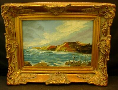 Miniature Older Oil Painting Pallet Knife On Board In Gold Gilded Wood Frame