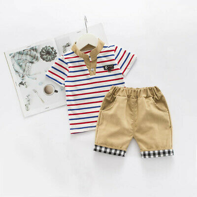 Toddler Baby Kids Clothes Cotton Boy Outfits Sets Striped Short T-Shirt + Pants