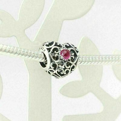 New Authentic Pandora Charms 925 ALE Sterling Silver Heart Red Bracelet Bead