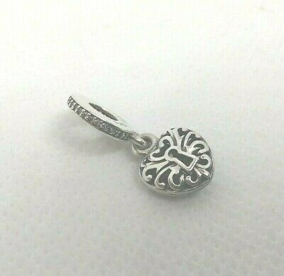 Authentic PANDORA Sterling Silver & CZ Charm INTRICATE HEART KEY #791025