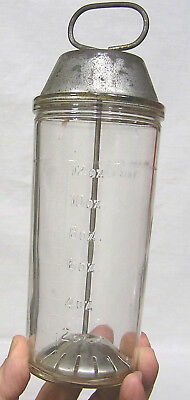 """Vintage National Dairy Glass Malted Milk Mixer with Tin Top Circa 1940s  9"""" Tall"""