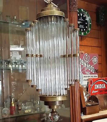 Antique Old Vintage Art Deco Brass & Glass Ceiling Fixture Chandelier Light Lamp