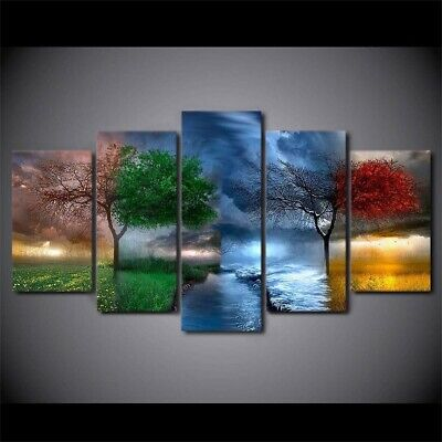Framed Home Decor Abstract Four Seasons Trees Canvas Prints Painting Wall Art 5P