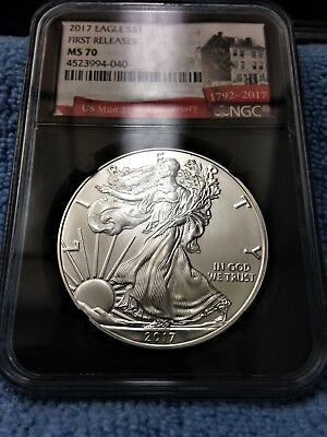 2017-$1 Silver American Eagle NGC MS-70 First Releases (225th Anniversary Label)