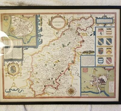 Antique Map By John Speed NORTHAMPTON SHIRE, framed, of England