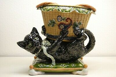 Antique German French Majolica Porcelain Vase Figural Cat Planter Whimsical Old