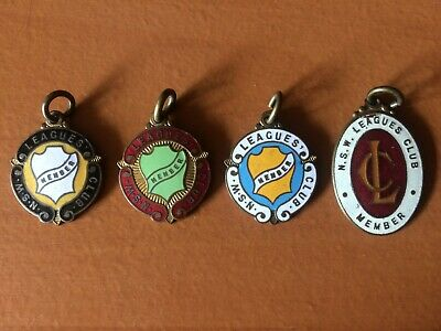 4 Consecutive NSW Leagues Club Member Rugby League Badges 1936 - 1939