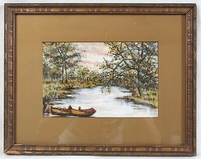 Antique Canadian 6x9 River Painting Fishing Boats Sunset Carved Wood Frame