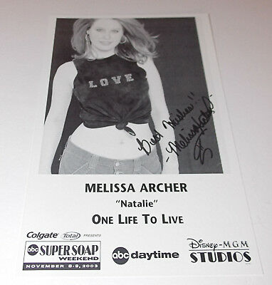 Melissa Archer Autograph Reprint Photo 9x6 One Life to Live 2003 Days of Our