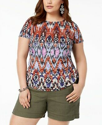 I.N.C. Plus Size Ruched Printed Burnout Top $59.50 Size 0X # 6B 482 NEW