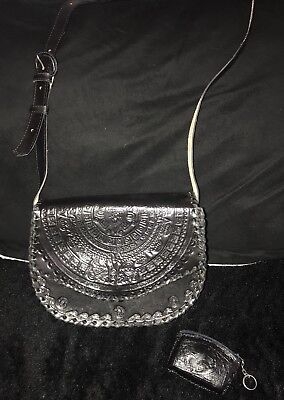 NEW Hand Tooled Leather Crossbody Purse Handbag Mexican Vintage Free CoinPurse!