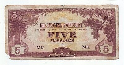THE JAPANESE GOVERNMENT FIVE DOLLAR WWII BANKNOTE Invasion Money K-661