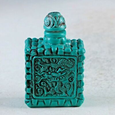 Exquisite Chinese Turquoise Resin Hand Carved Dragon Snuff Bottle1