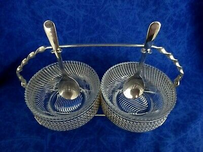 Vintage Silver Plated Double Basket With Handle 2 Teaspoons 2 Dishes High Te