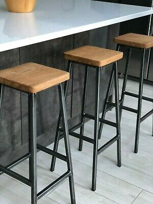 Industrial Bar Stool, Oak Seat, Steel Frame