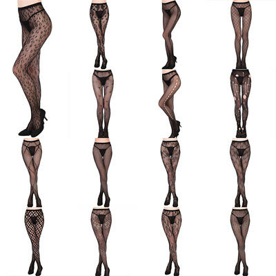 Women's Black Lace Fishnet Hollow Patterned Pantyhose Tights Stocking SG