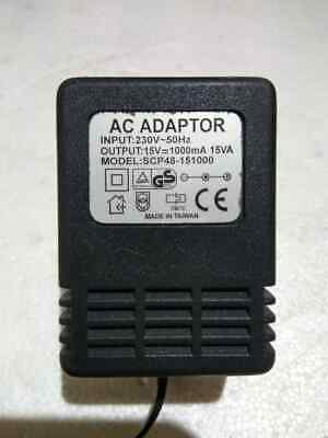 SR Components Model SCP48-151000 PART NO DC-15-1.0-2.1 2.5mm Power Supply