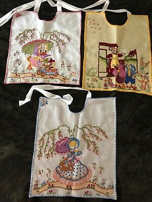Antique Collectable Babies Bibs Hand Made & Embroidered Home Decor Framed