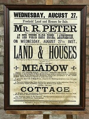 Framed Antique Poster, Advertising Freehold Land & Houses for Sale In Cornwall