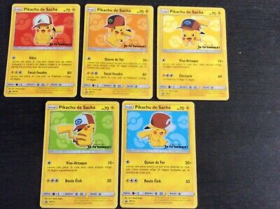 Pokemon -  Pikachu de Sacha lot de 5 cartes pour le Film Je te Choisis